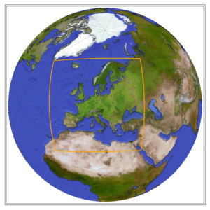 Globe showing the CORDEX domain of Europe