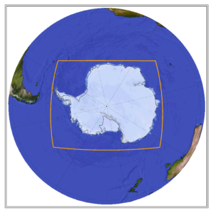 Globe showing the CORDEX domain of Antartica