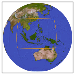 Globe showing the CORDEX domain of South East Asia