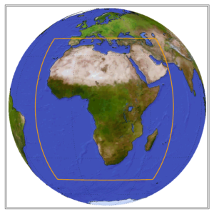 Globe showing the CORDEX domain of Africa
