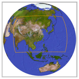 Globe showing the CORDEX domain of East Asia