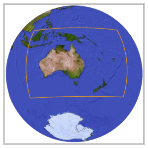 Globe showing the CORDEX domain of Australasia