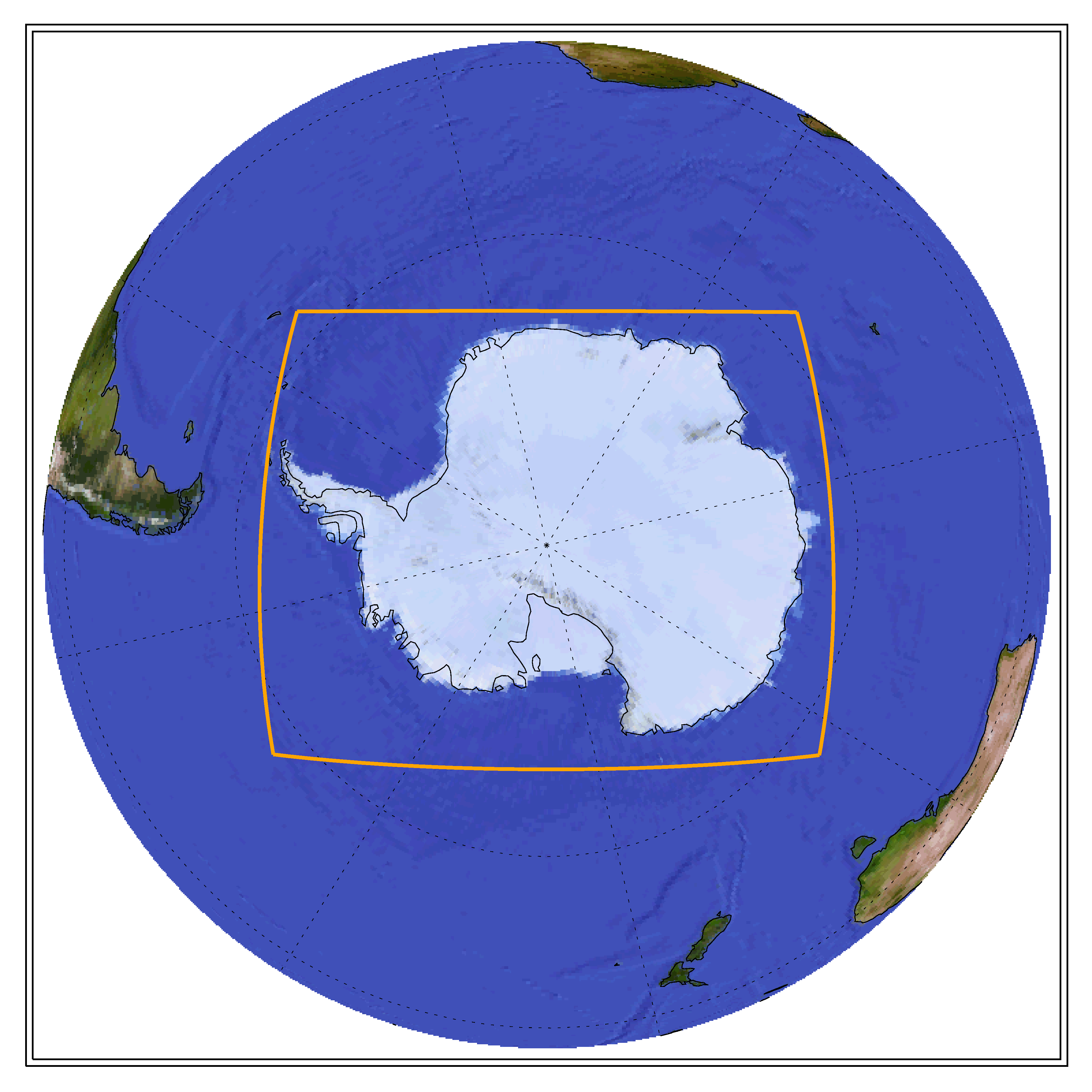 Globe showing the CORDEX domain of Antarctica