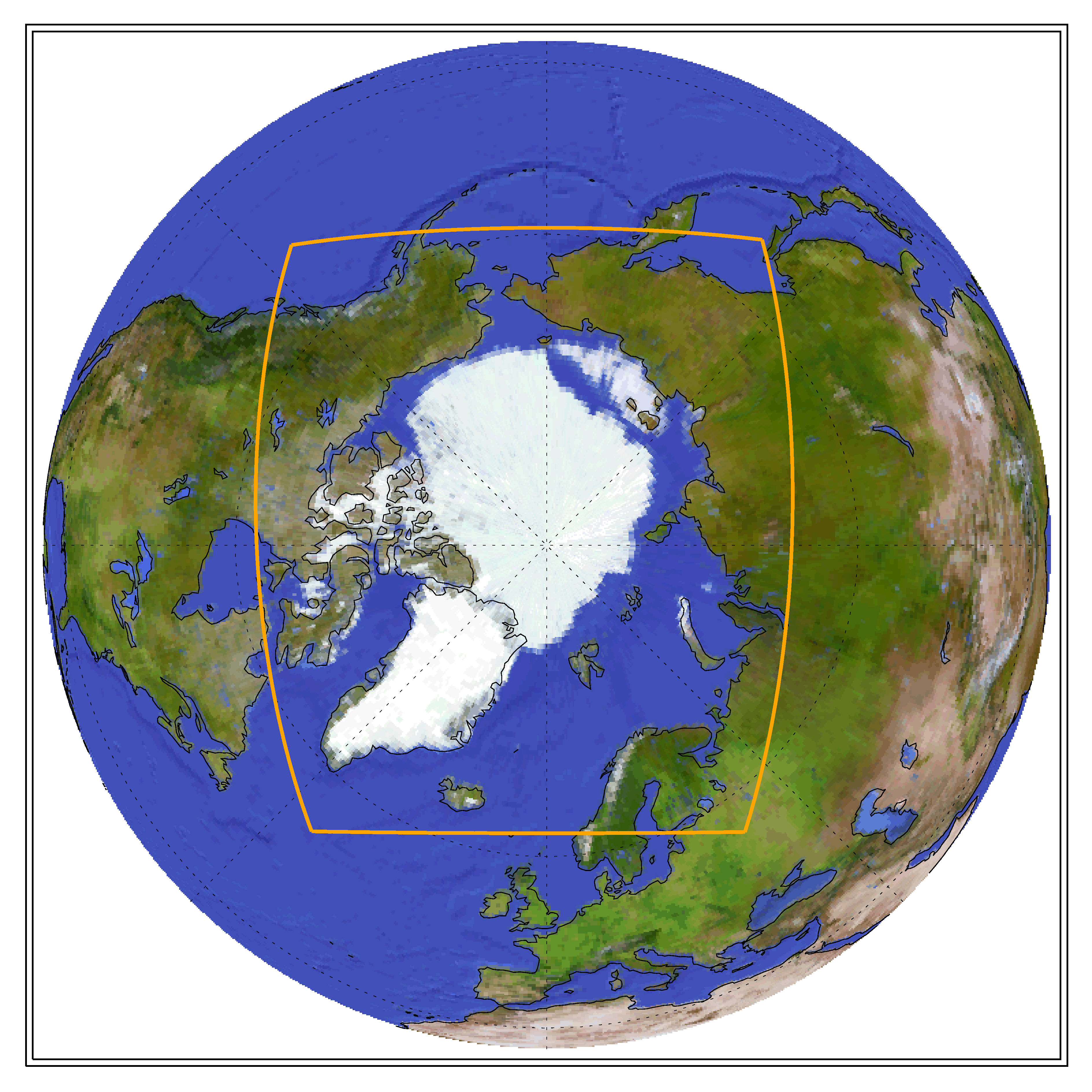 Globe showing the CORDEX domain of Artic