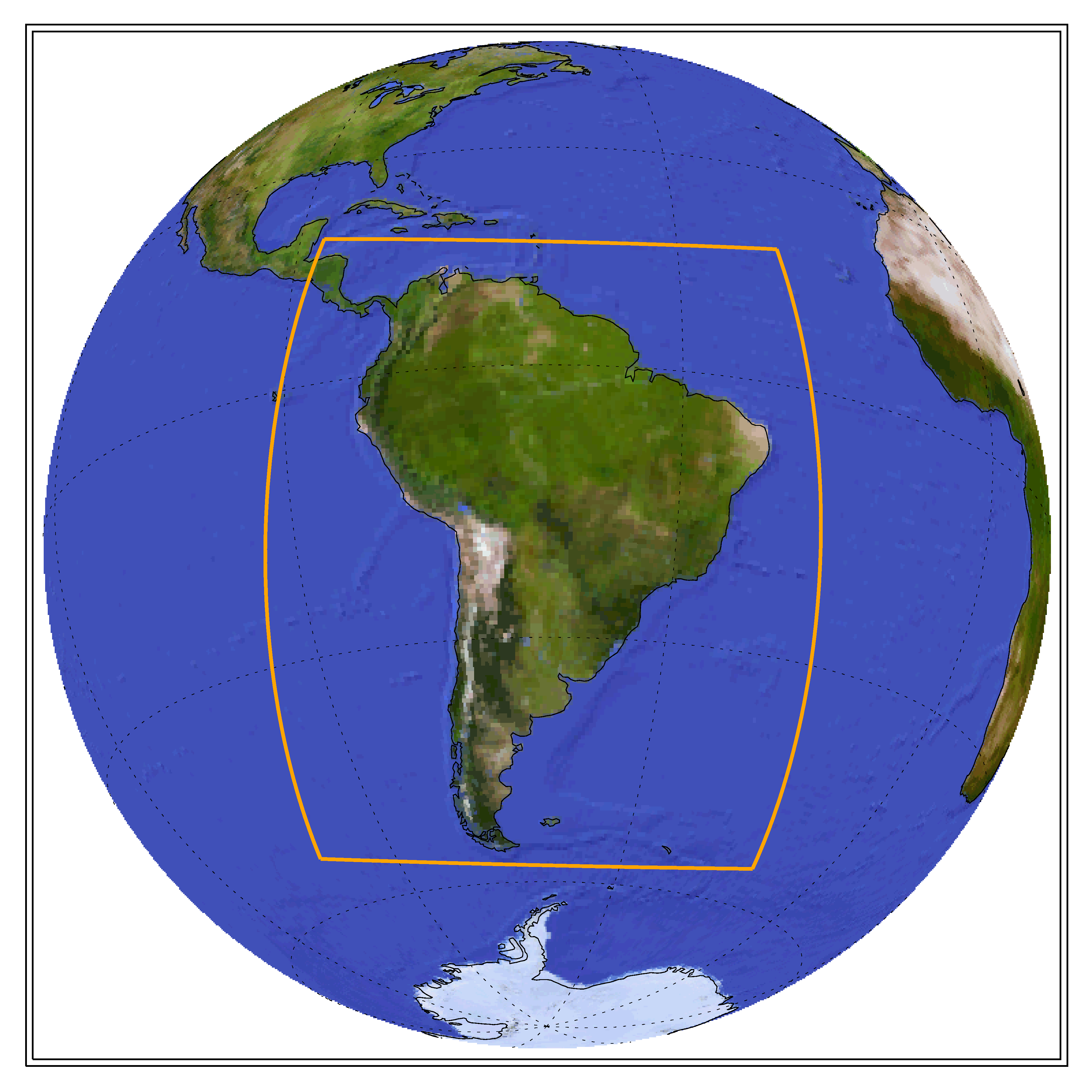 Globe showing the CORDEX domain of South America