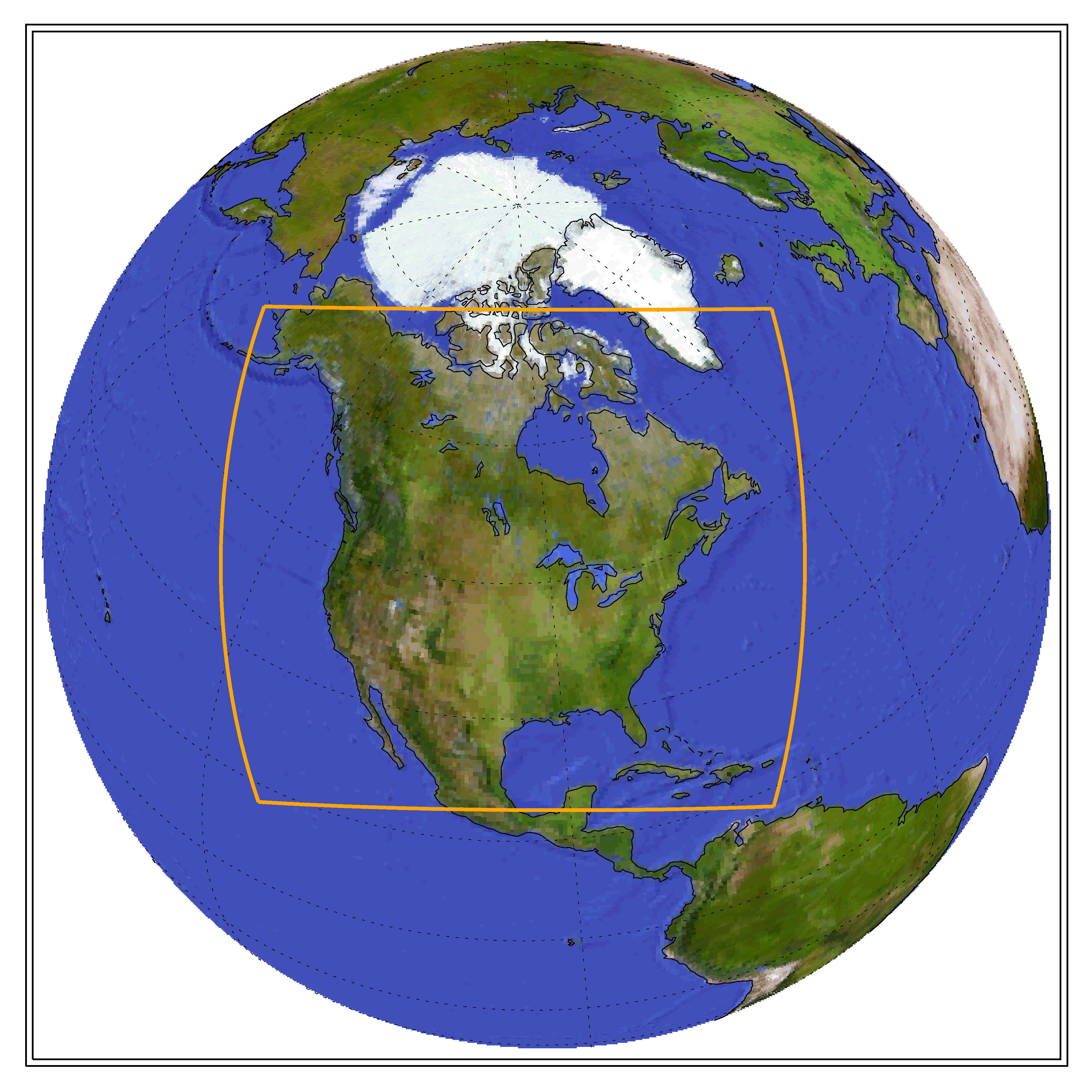 Globe showing the CORDEX domain of North America