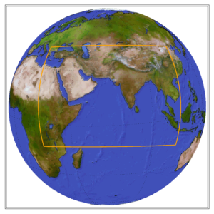 Globe showing the CORDEX domain of WAS