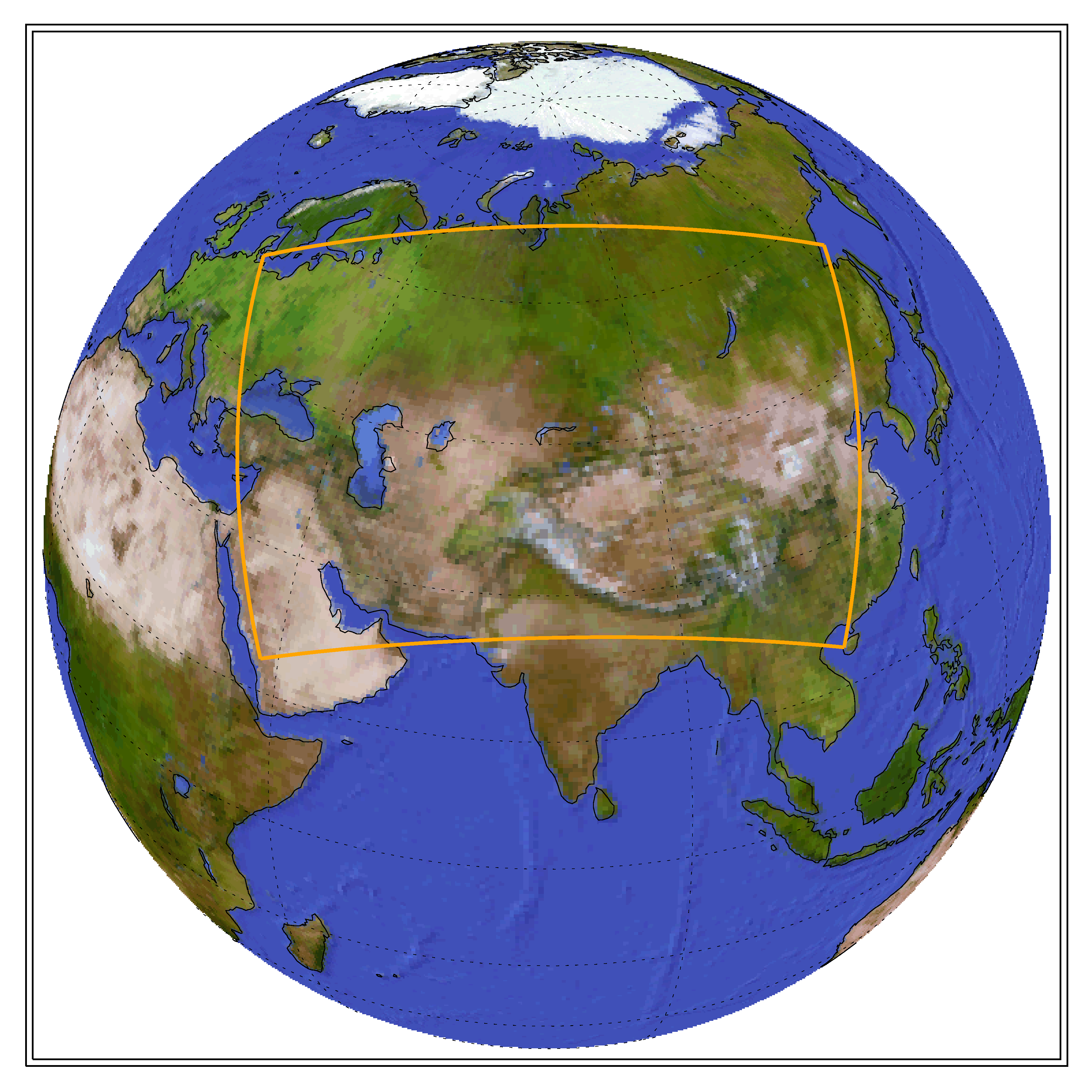 Globe showing the CORDEX domain of Central Asia