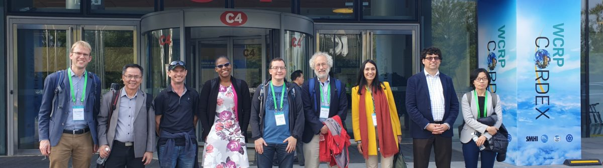 The Science Advisory Team are standing outside China National Convention Center In Beijing for the International Conference on Regional Climate-CORDEX2019