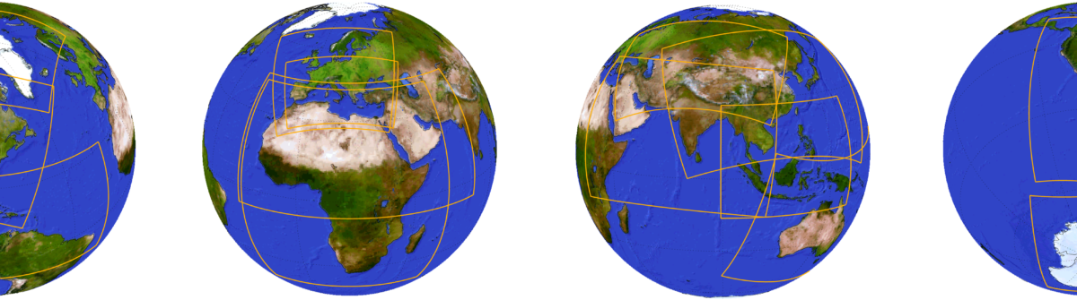 Four globes showing all parts of the world