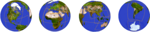 4 globes showing all parts of the world